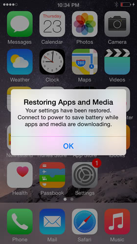Restore apps and media