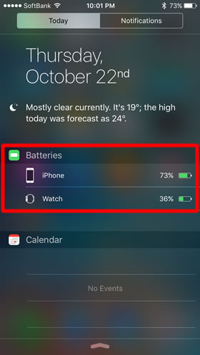 iPhone's battery status